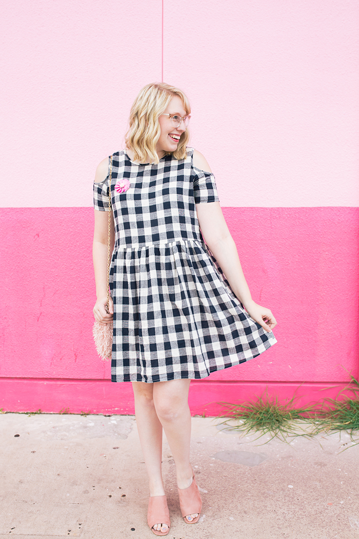 austin fashion blogger writes like a girl gingham dress pink mules2