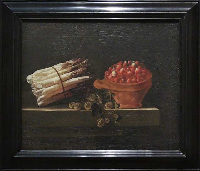 Still life with asparagus, gooseberries and strawberries on a stone plinth, Adriaen Coorte, 1698