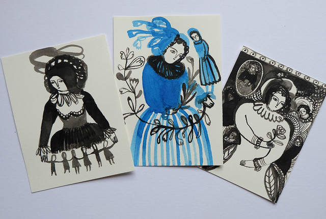 a trio of ink drawings
