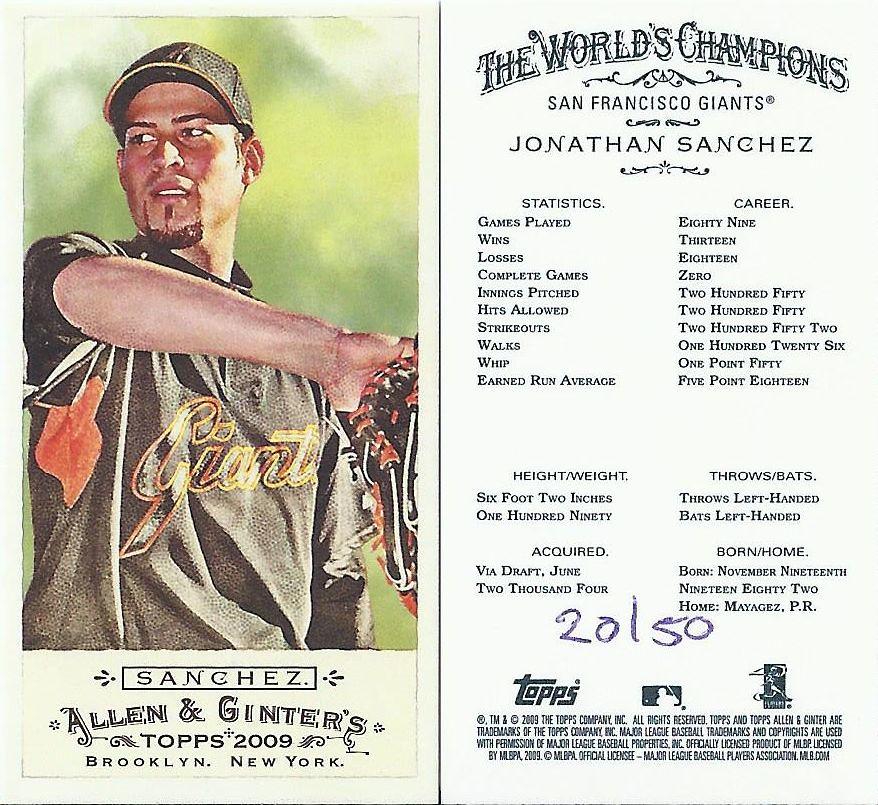 2009 Topps Allen Ginters Mini No Number 20 50 JONATHAN SANCHEZ
