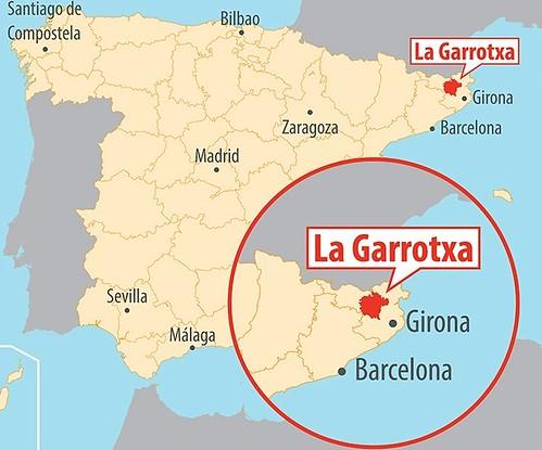 Mapa de situación de La Garrotxa (Girona, Cataluña)