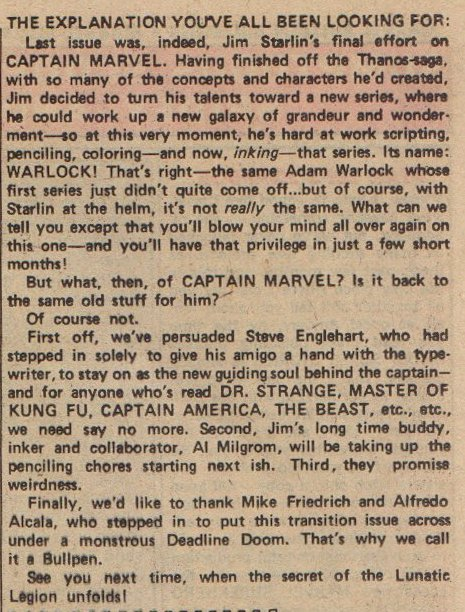 Captain Marvel 35 letters page announcement