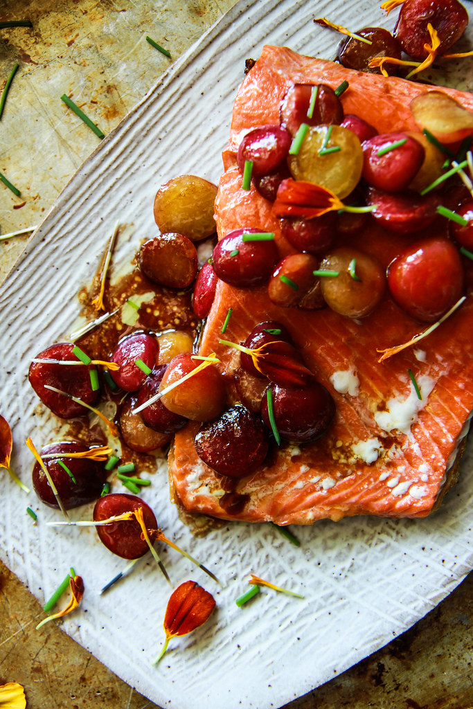 Balsamic Roasted Salmon with Honey Glazed Cherries from HeatherChristo.com