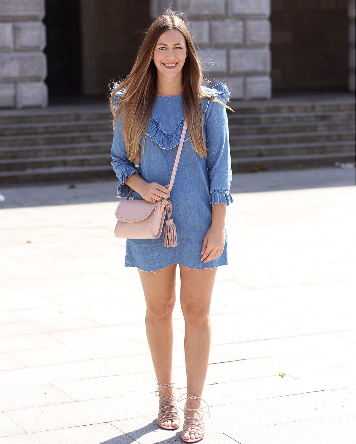 denim-ruffled-dress