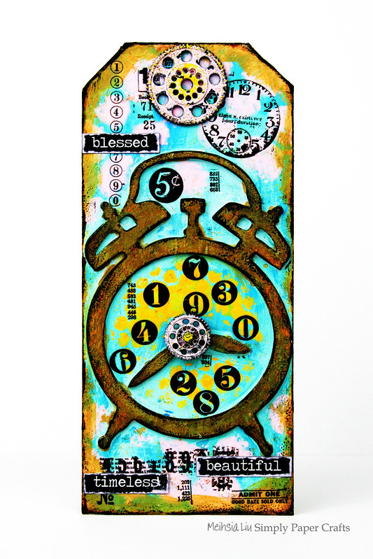 Meihsia Liu Simply Paper Crafts Mixed Media Tag Circle Clock Simon Says Stamp Tim Holtz 1