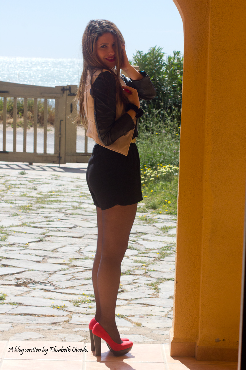 mono negro cinturon dorado chaqueta de cuero heelsandroses moda blogger fashion style look verano primavera sfera el corte ingles (4)
