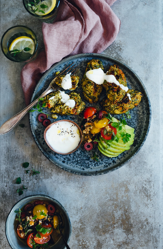 Broccoli & Feta Patties with Tomato Olive Salsa & Smoked Yoghurt | Cashew Kitchen