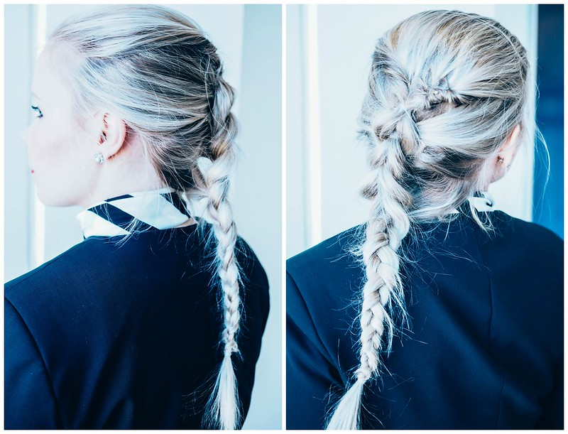FlightAttendantHairstyleBraid, hiusten muotoilu, vaaleat hiukset, blonde hair, pitkät hiukset, long hair, braid, letti, pull through braid, läpivetoletti, lentoemäntä, flight attendant, hairstyle ideas, braid ideas, letti ideat, hiusten muotoilu ideat,
