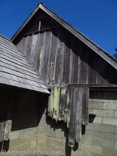 Wood was attached to the concrete block structures to give the appearance of farm buildings at the WWII era Klamath River Radar Station, Redwood National Park, California