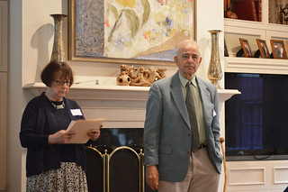 9. 2017ScholarshipTea0029: Beverly Kestenis Scholarship Committee Chair and Murray Peyton, donor.