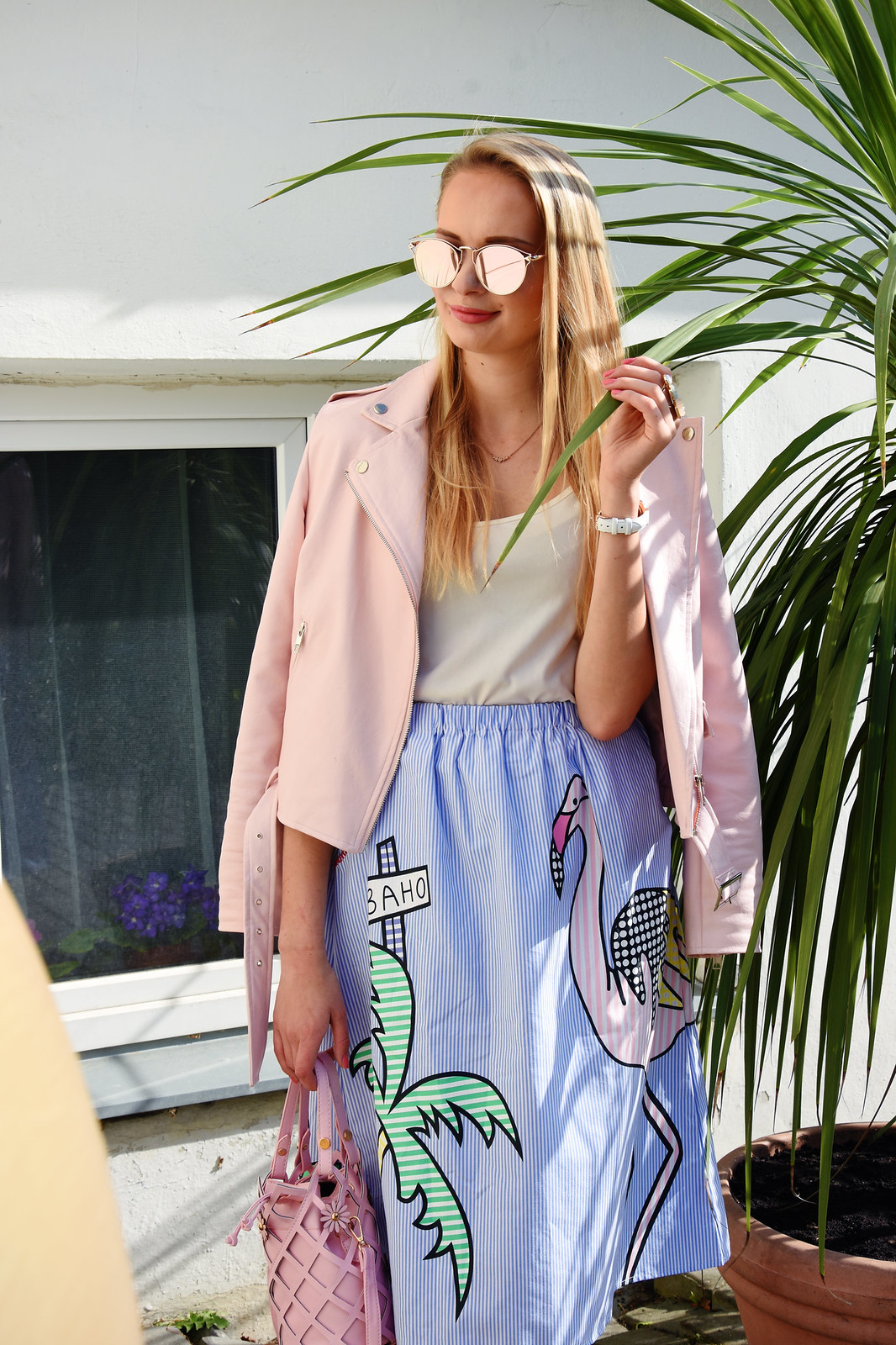 Pink faux leather jacket outfit