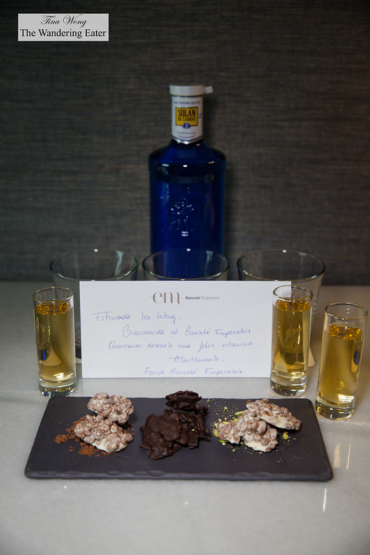 Welcoming gift of madeira and various chocolate barks