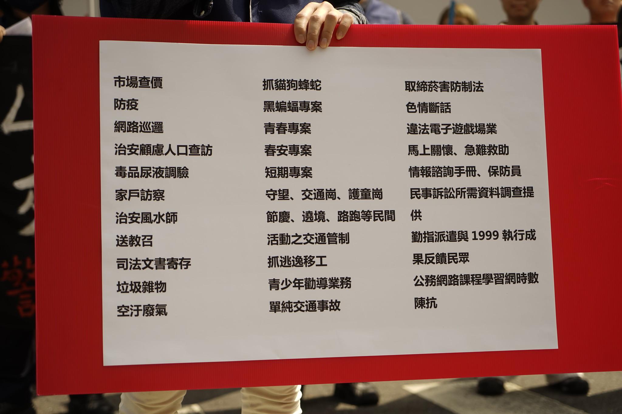 警工推列出高達三十項以上由衛福部、農委會等各級機關分出給基層警員的冗余庶務。(攝影:張宗坤)