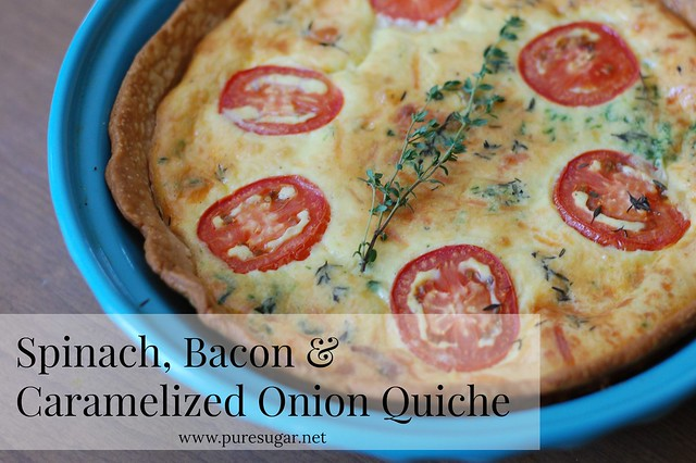 Bacon, spinach & caramelized onion quiche