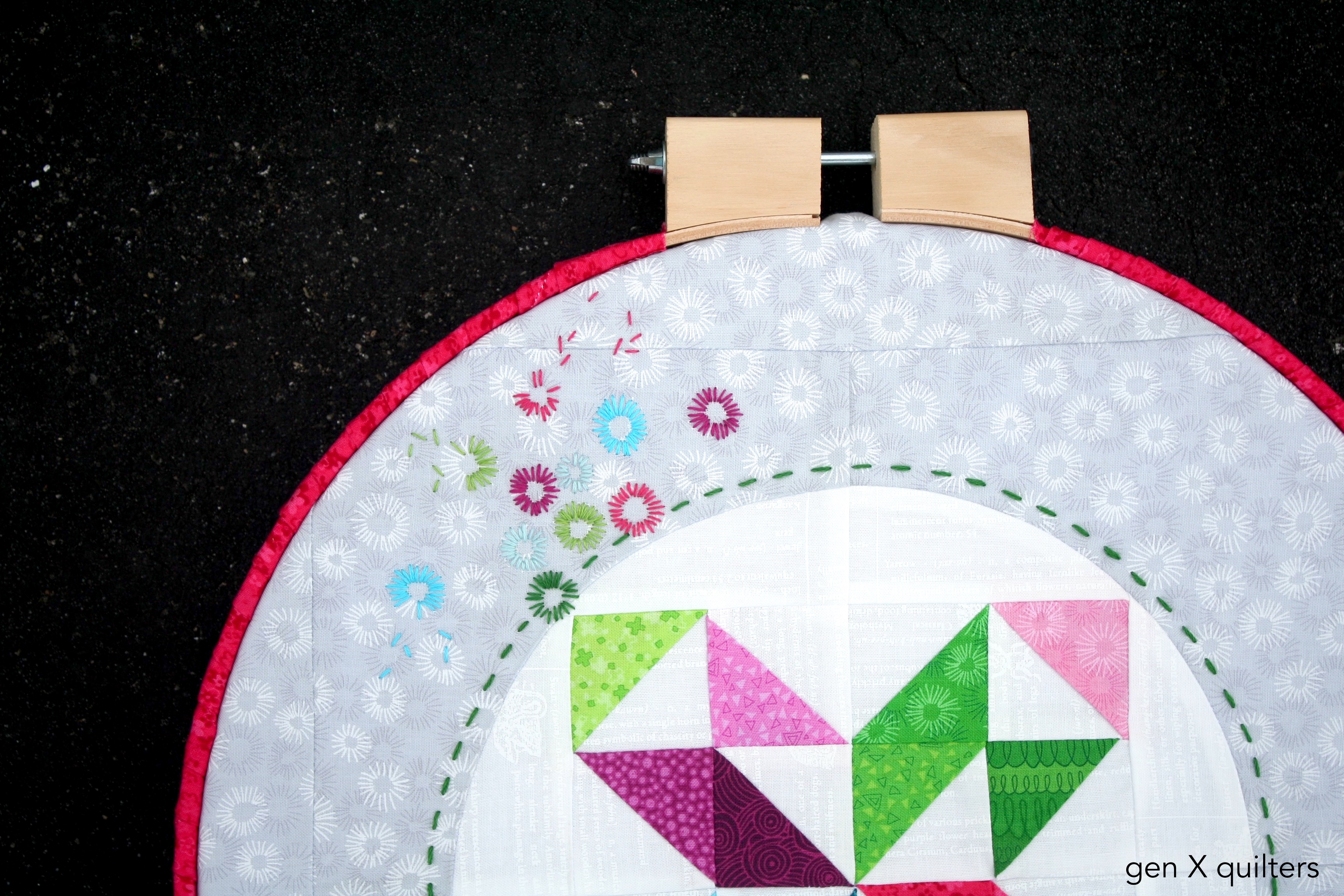 Hopscotch HOOP Quilt Embroidery Detail