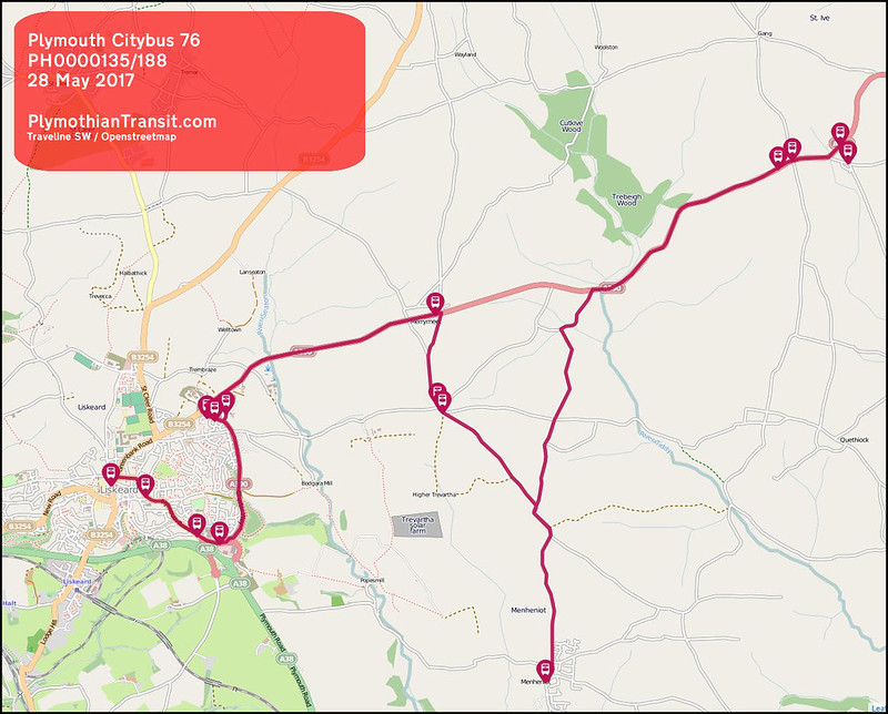 2017 05 28 PLYMOUTH CITYBUS LTD ROUTE-076 MAP