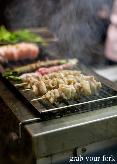 Chicken skin skewers at Yakitori Jin Japanese restaurant in Haberfield Sydney
