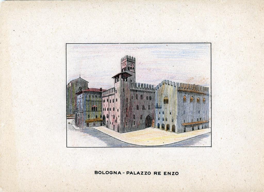 Palazzo Re Enzo à Bologne sur une carte postale coloriée avec goût.