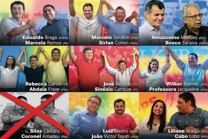 9 candidatos irão disputar a eleição para governador tampão do Amazonas, Candidatos a governador tampão no AM. Montagem - A Crítica