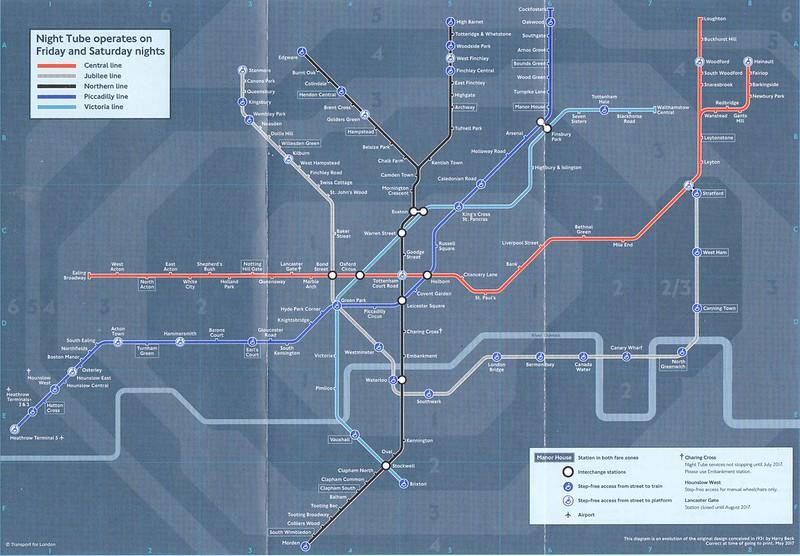 May 2017 Night Tube map