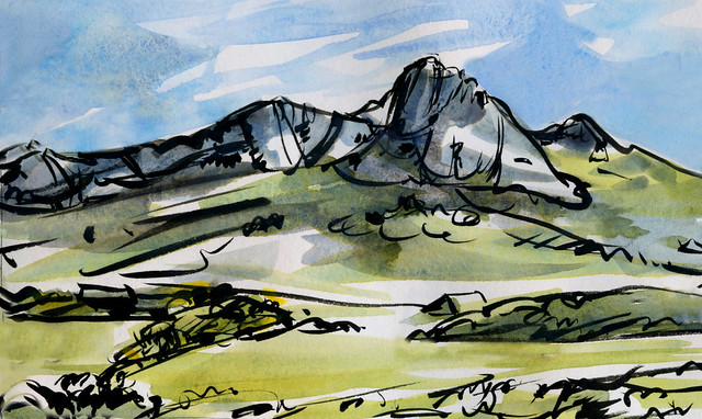Wales: Carn Llidi sunny day: brush pen and watercolor