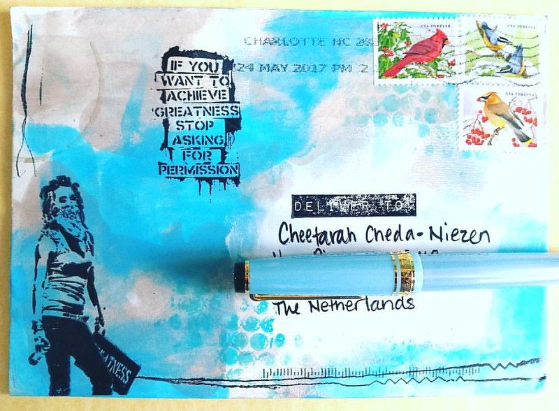 Received this wonderful piece of #mailart from my @vivalasvegastamps DT-mate  Shanna! It's super gorgeous and that banksy quote stamp is on my wishlist for sure! We have monthly swaps going on at our FB group, Viva Las Vegastamps Groupies if you want to c