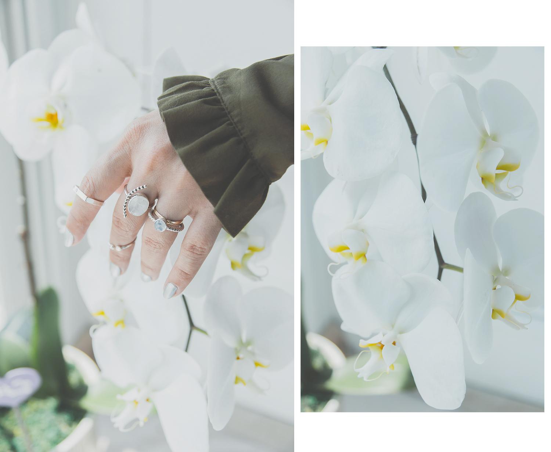 Olga Choi myblondegal fashion blogger South Korea Ольга Цой стилист байер Москва шоу-рум Styled Moscow H&M khaki ruffle sleeve dress Moonstone Magic rings-01011