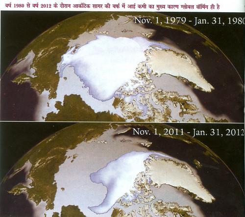 वर्ष 1980 से वर्ष 2012 के दौरान आर्कटिक सागर