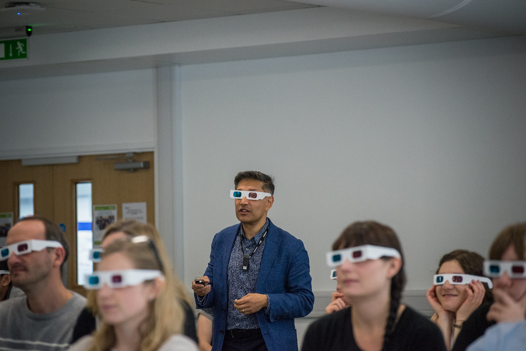 An audience wearing 3D glasses during the keynote lecture at the Faculty of Science Research Afternoon 2017