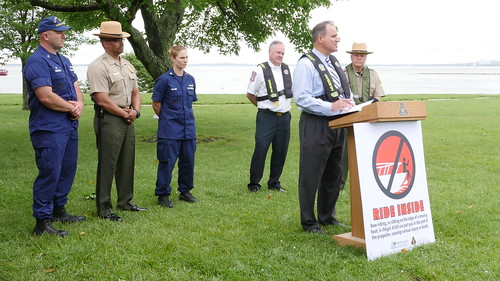 Secretary Mark Belton speaking on boating and water safety at a press conference at Sandy Point State Park.
