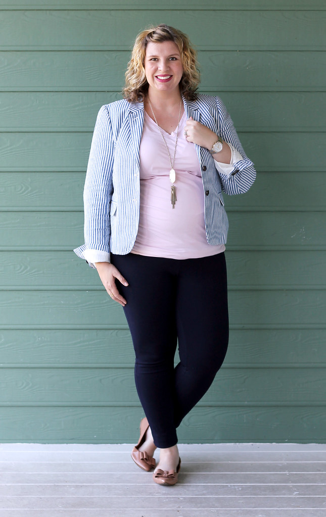seersucker blazer, navy maternity pencil pants, bow flats 7