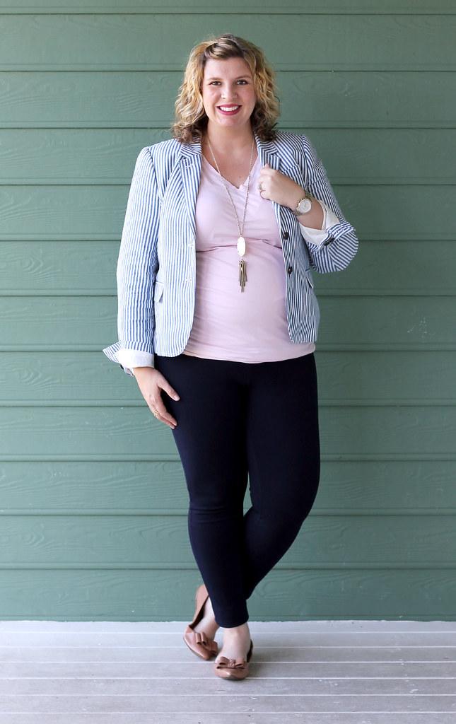 seersucker blazer, navy maternity pencil pants, bow flats 7