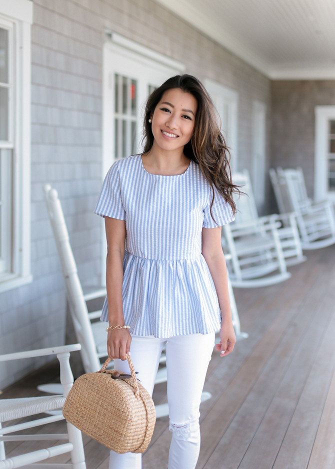 striped peplum top straw basket bag nantucket outfit