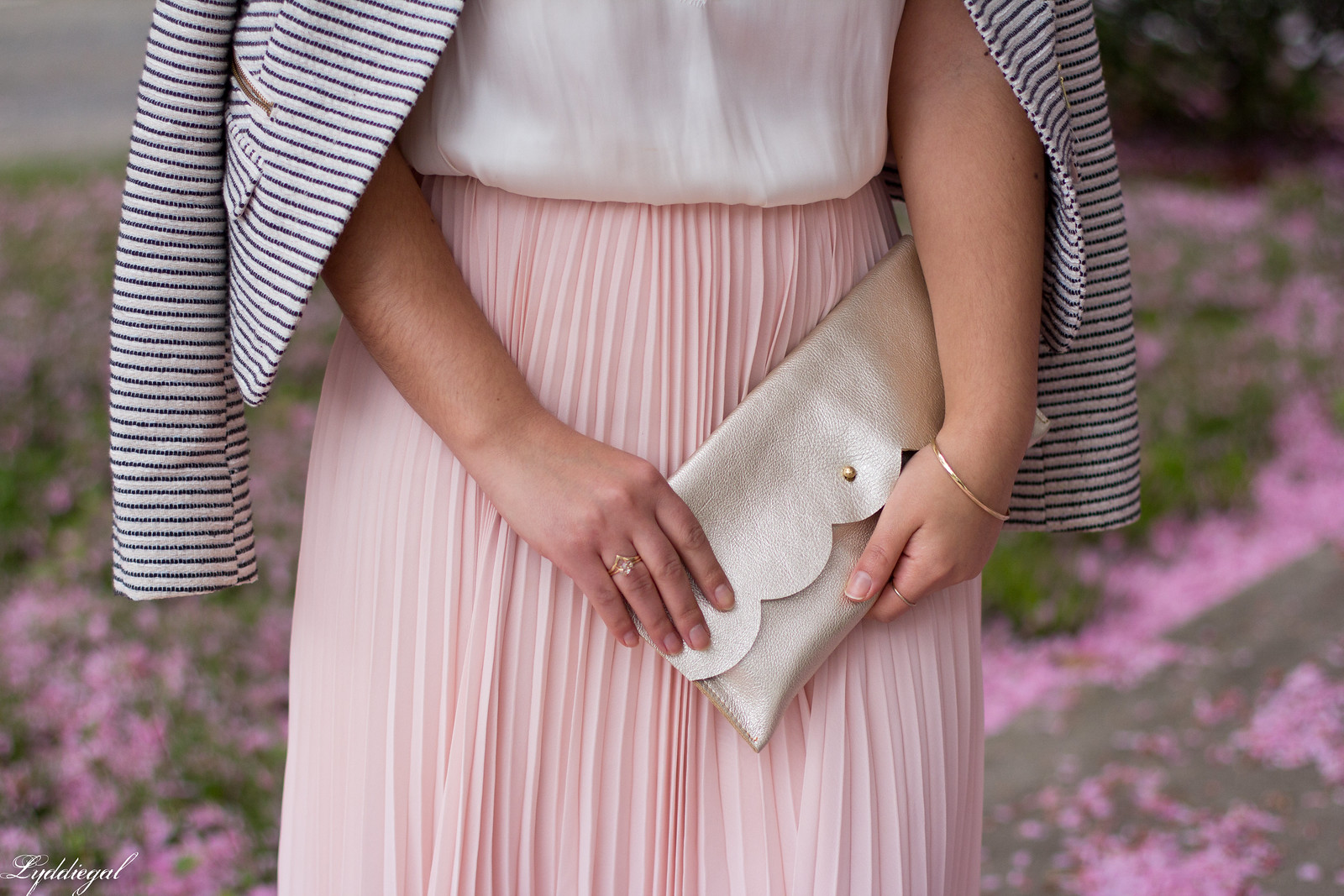 blush pleated maxi skirt, lace cami, striped blazer, scalloped clutch-5.jpg