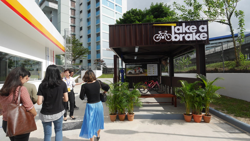Take respite from the heat of the sun at Shell's new bicycle bay.