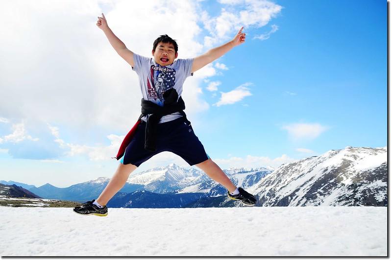 Jacob Jumping Over Longs Peak 1