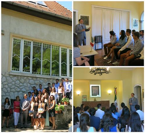 Estudiantes de la Universidad Anáhuac México visitan a la embajada de México en Hungría
