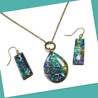 polymer clay brocade necklace & earrings | by Beadazzle Me by sherri kellberg