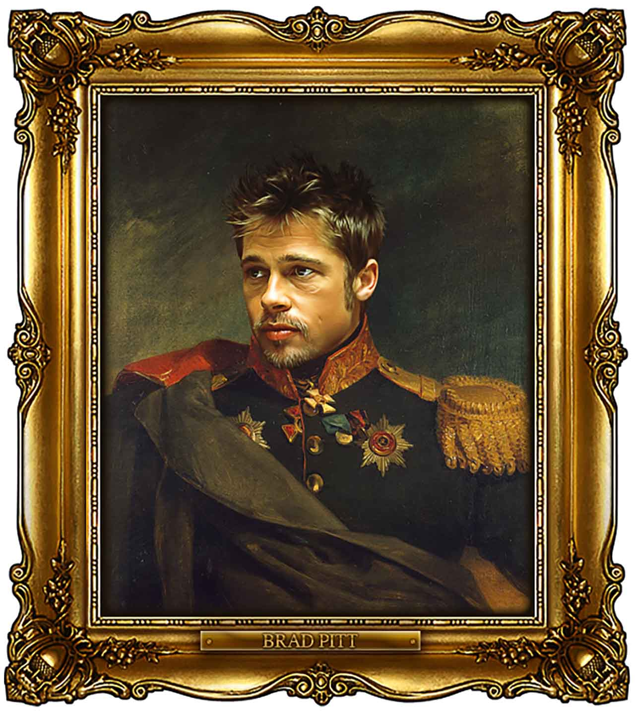 Artist Turns Famous Actors Into Russian Generals - Brad Pitt