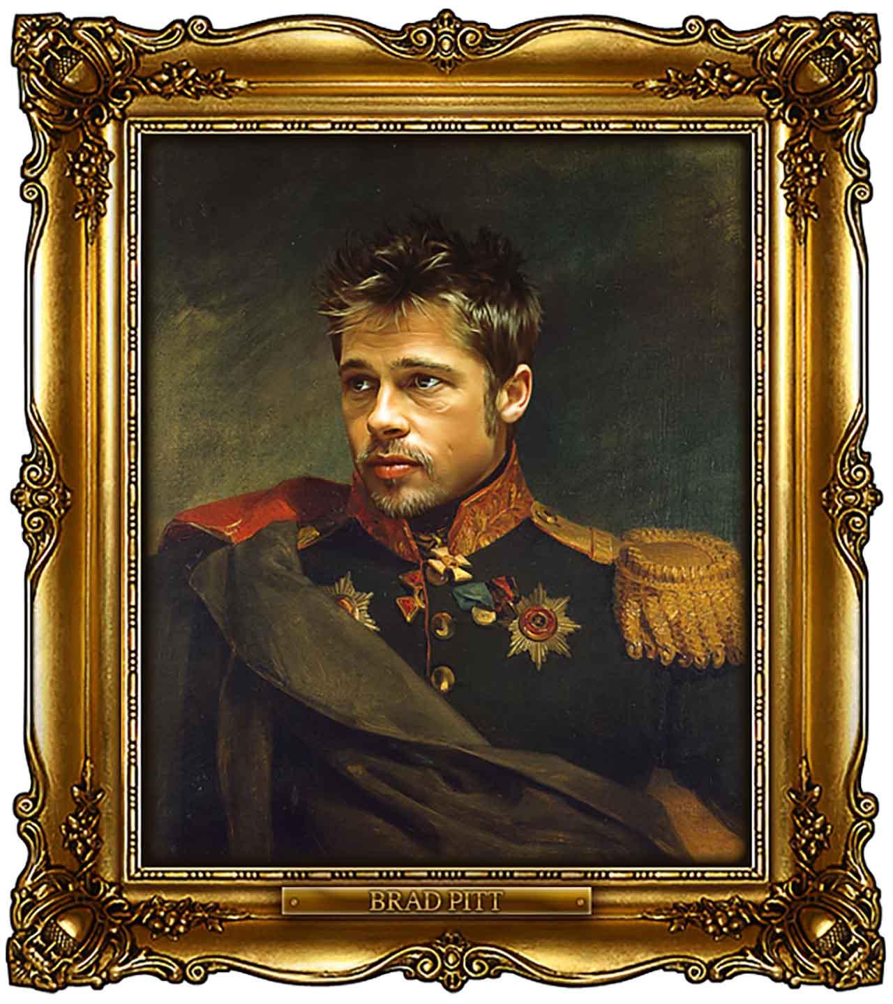 Artist Turns Famous Actors Into Russian Generals - Brad Pitt