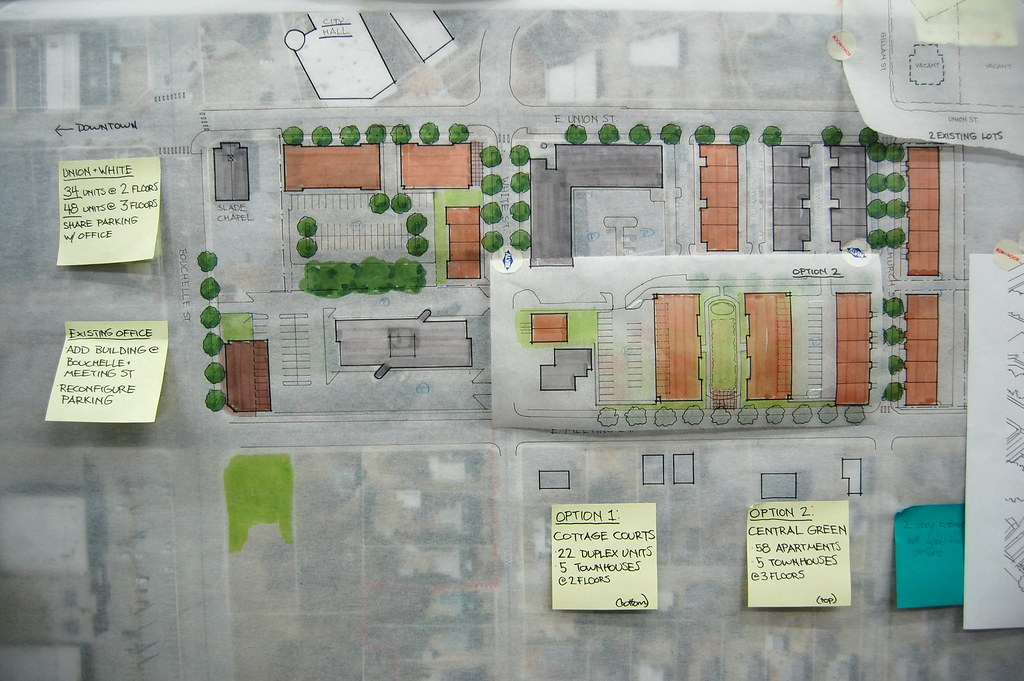 Housing ideas for two blocks on E. Union and Bouchelle Street and E. Union and White Street.