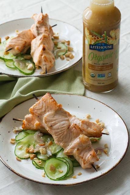 Honey-Ginger Salmon Skewers with Cucumber Salad