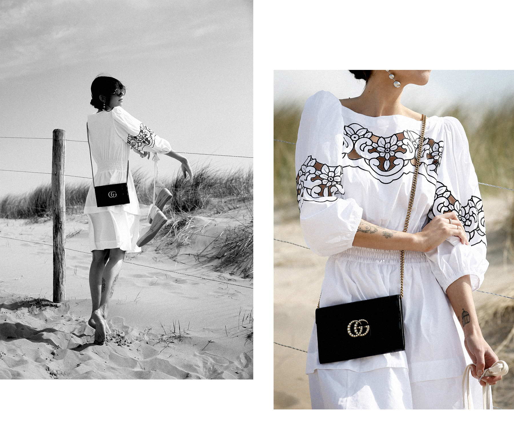 outfit breuninger pinko dress kleid gucci marmont clutch bag chain woc sunglasses blogger fashionblogger white dressing beach dunes summer holiday cats & dogs blog modeblogger ricarda schernus düsseldorf styleblogger sea ocean photography 2