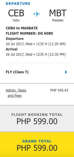Cebu to Masbate Promo July 26, 2017