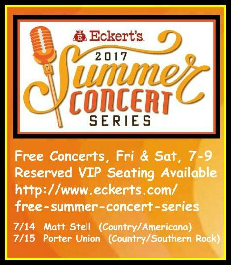 Eckert's Summer Concerts 7-14, 7-15-17
