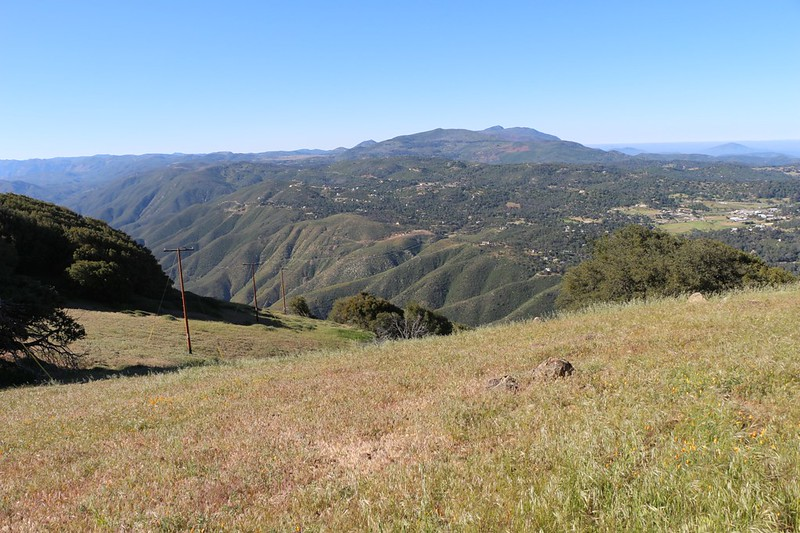 View south from the summit of Volcan Mountain with Cuyamaca Peak right of center and Banner Canyon down below