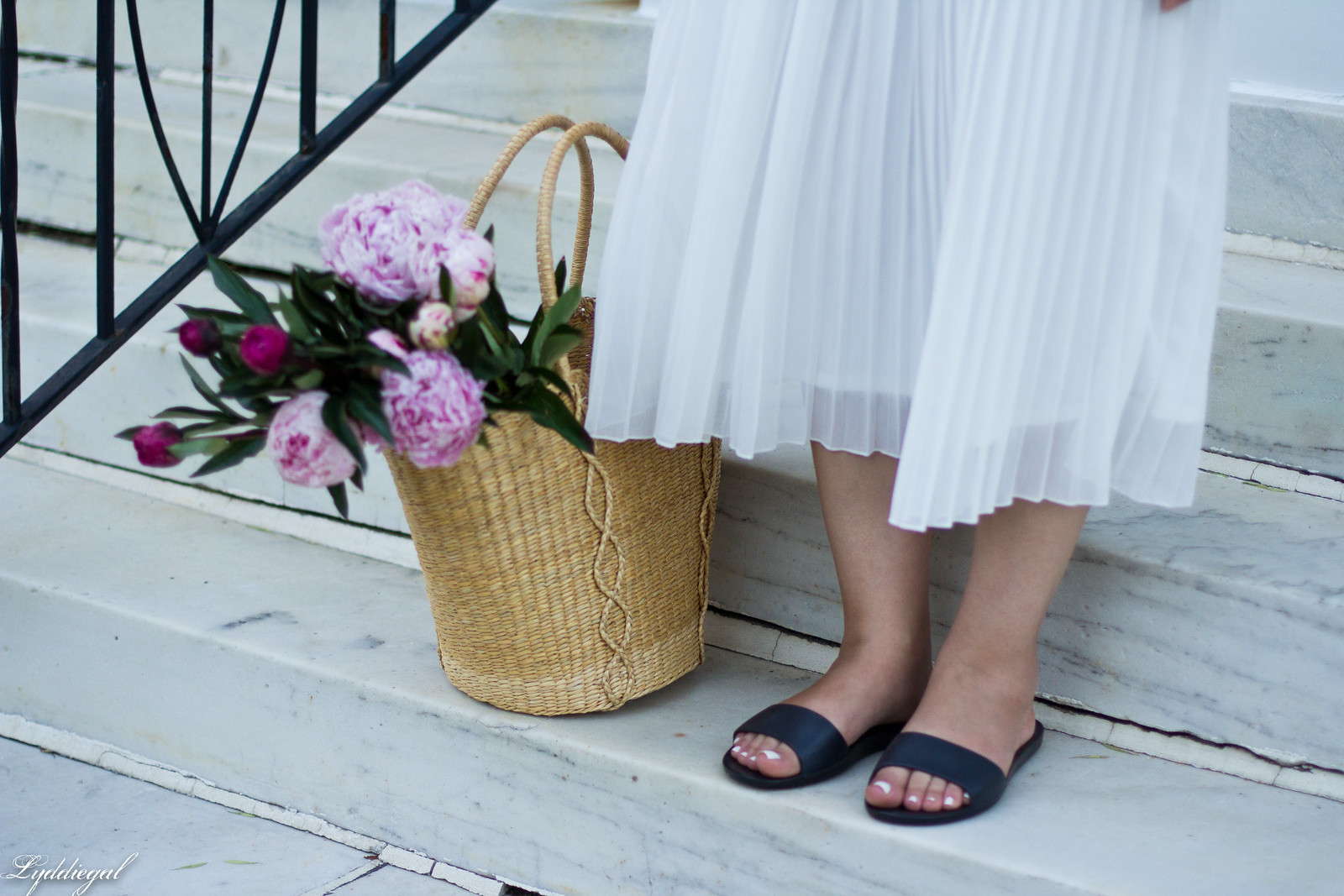 white pleated skirt, black off the shoulder tee, Soak sandals-5.jpg