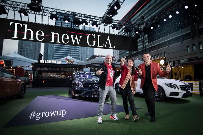 神秘嘉賓Miss Ko(中)現身幕前,與台灣賓士總裁邁爾肯(右)與台灣賓士轎車行銷業務部副總裁何睿思(左),宣告屬於新世代的The new GLA狂熱派對正式開始,台上台下全部一起High!