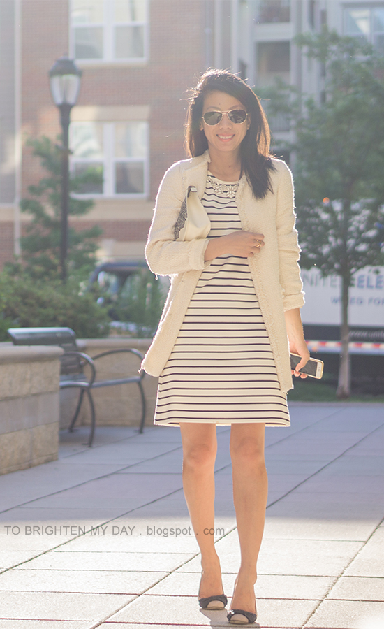 white tweed jacket, striped dress, lace printed clutch, bow ballerina flats