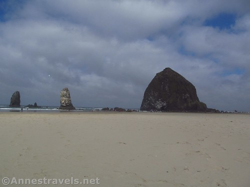 Haystack Rock and the Needles from the south, Cannon Beach, Oregon
